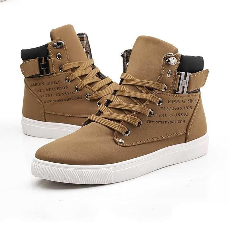 2a8efea0c3 Hot Men Shoes Sapatos Tenis Masculino Male Fashion Spring Autumn Leather  Shoe For Men Casual High Top Shoes Canvas Sneakers