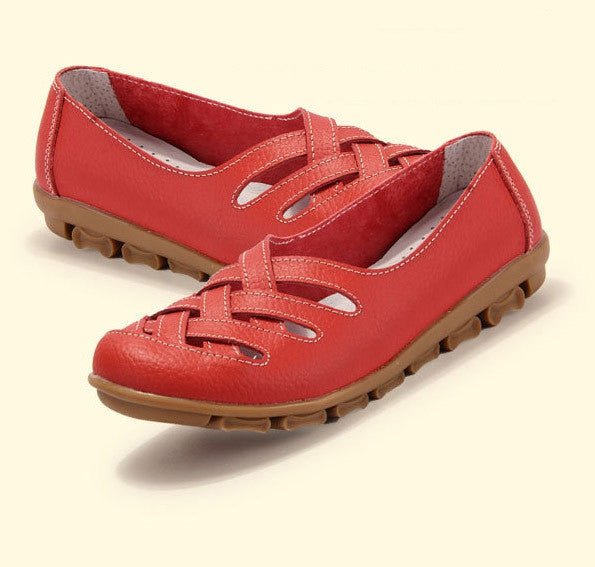New fashion women sandal genuine leather flats women's round toe flexible sneakers ballet loafer
