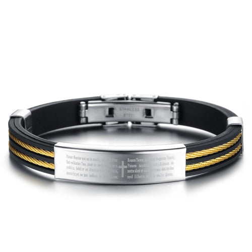 Fashion jewelry Punk Gold Stainless Steel Cross Black Genuine Silicone Men Bracelet male Bangles