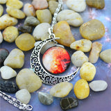 New Fashion Galaxy Necklace Lovely Galaxy Cabochon Alloy Hollow Moon Pendant Silver Chain Necklace Best Gift