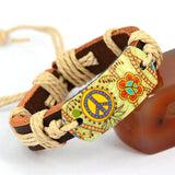 Genuine Leather Bracelet Mixed Peace Butterfly Charms Tribe Bracelets Jewelry Fashion Bracelet