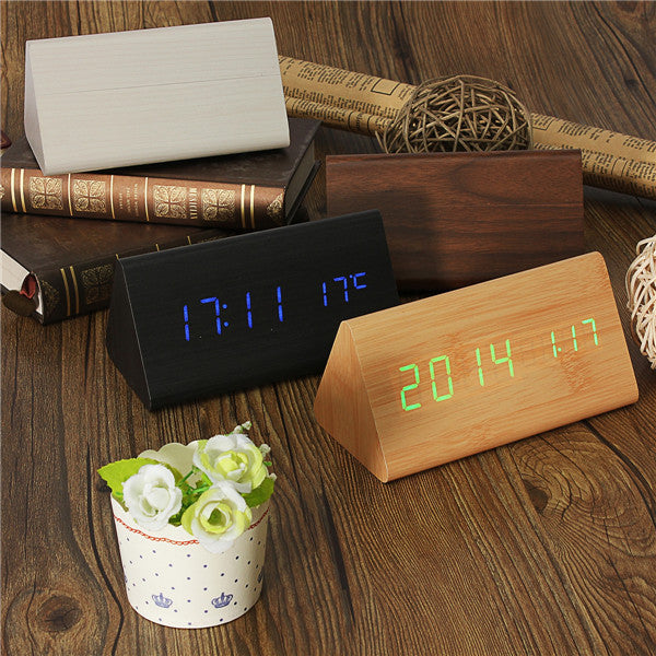 New Wood Wooden Digital LED Alarm Clock Triangular Table Desk Clock Led Display