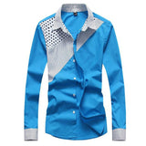 Hot Sale Men's Fashion Splicing Turn-down Collar Shirt Male Casual Full-sleeved Shirt