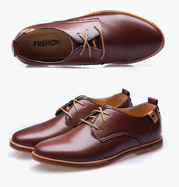 Men Shoes Leather Casual Lace Up Brown Black Buycoolprice