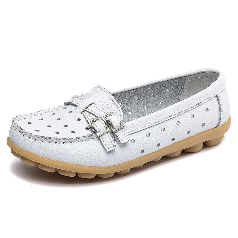 Shoes Woman Genuine Leather Women Shoes Flats 8 Colors Buckle Loafers Slip On Women's Flat Shoes