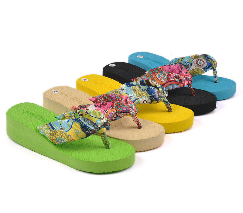 Summer bohemia flower Women flip flops platform wedges women sandals platform flip slippers beach shoes