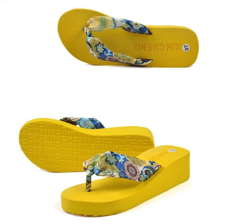 7789e1754ade58 Summer bohemia flower Women flip flops platform wedges women sandals  platform flip slippers beach shoes