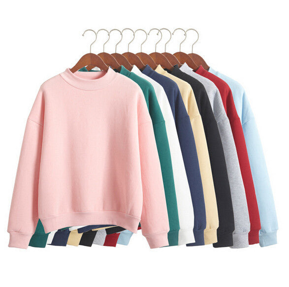 Hot Sale Korean New Latest Hoodies O-neck Sports Sweatshirt Autumn Fashion Women Pure Candy Color Casual Sweatshirt