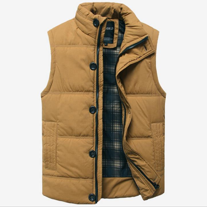 Autumn Winter Fashion Casual Tank Top Men Stand Collar Cotton-padded Thickening Slim Fitness Sleeveless Men's Vest Waistcoat