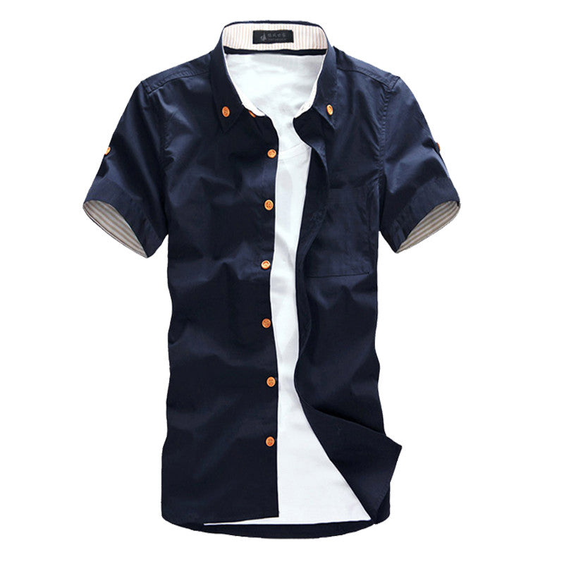 Hot Sale 2015 Men's Fashion Short Sleeve Shirts.Top Brand Quality Summar Slim Shirts