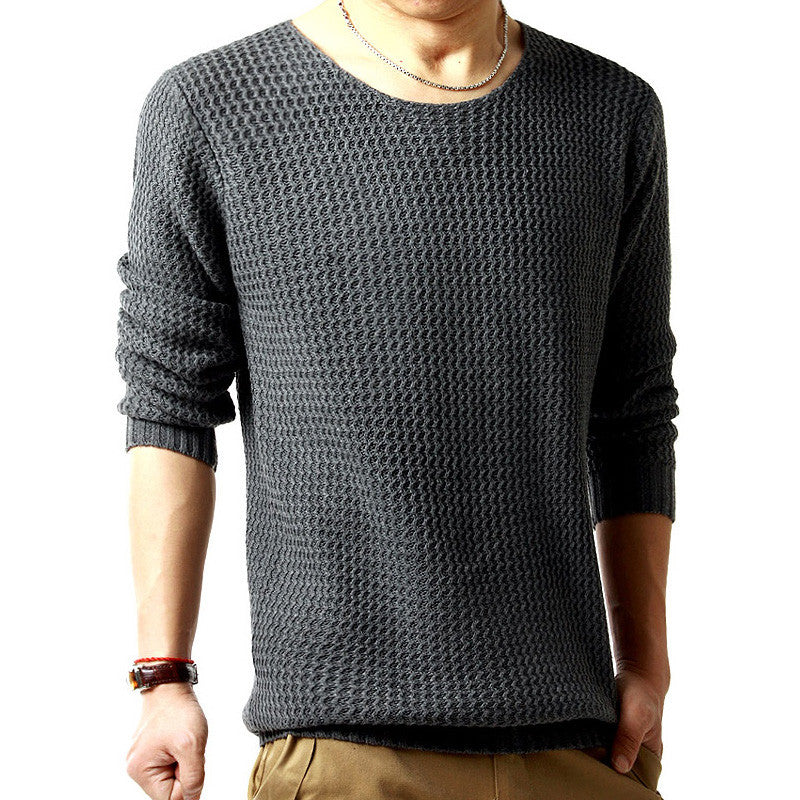 Pullover sweater male o-neck sweater spring long sleeved turtleneck sweater knitted men sweater