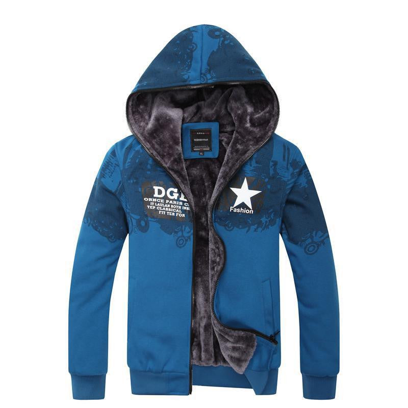 Autumn Winter New Thick With Velet Sweatshirt Men Slim Casual Printed Man Hoody