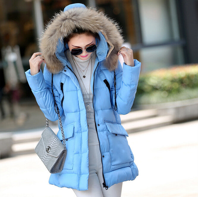Winter jacket women The new winter women's fur collar pocket long section down jacket coat solid color coat