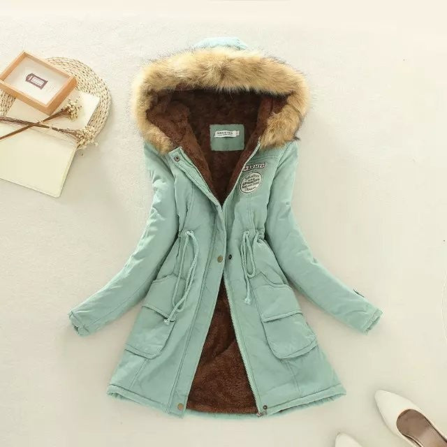 Winter jacket women new women's autumn and winter Slim waist lace long section hooded cotton jacket