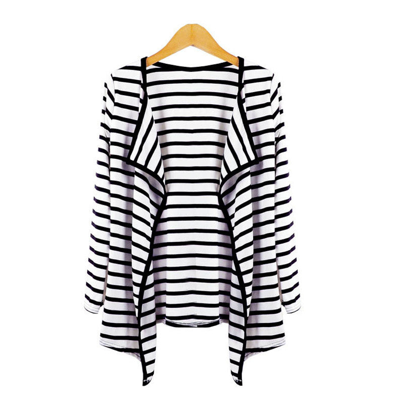 New Fashion Women Ladies Long Sleeve Striped Peplum Spring Autumn Casual Cardigan Tops Blouse Jacket Outerwear