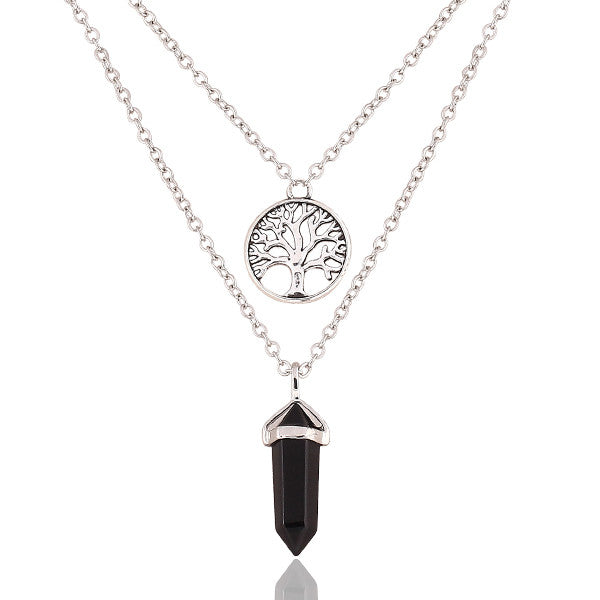 New Fashion Alloy Silver-plated Double Chain necklace jewelry Round Tree Punk black gem necklace pendants statement