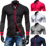 New Mens Long Sleeved Dress Shirts Double Collar Button Unique Design Slim Fit Brand Shirts