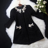 winter coat women Free Shipping Women's With Good Qualit Luxury ladies fashion ladies hand-beaded hollow jacket pocket