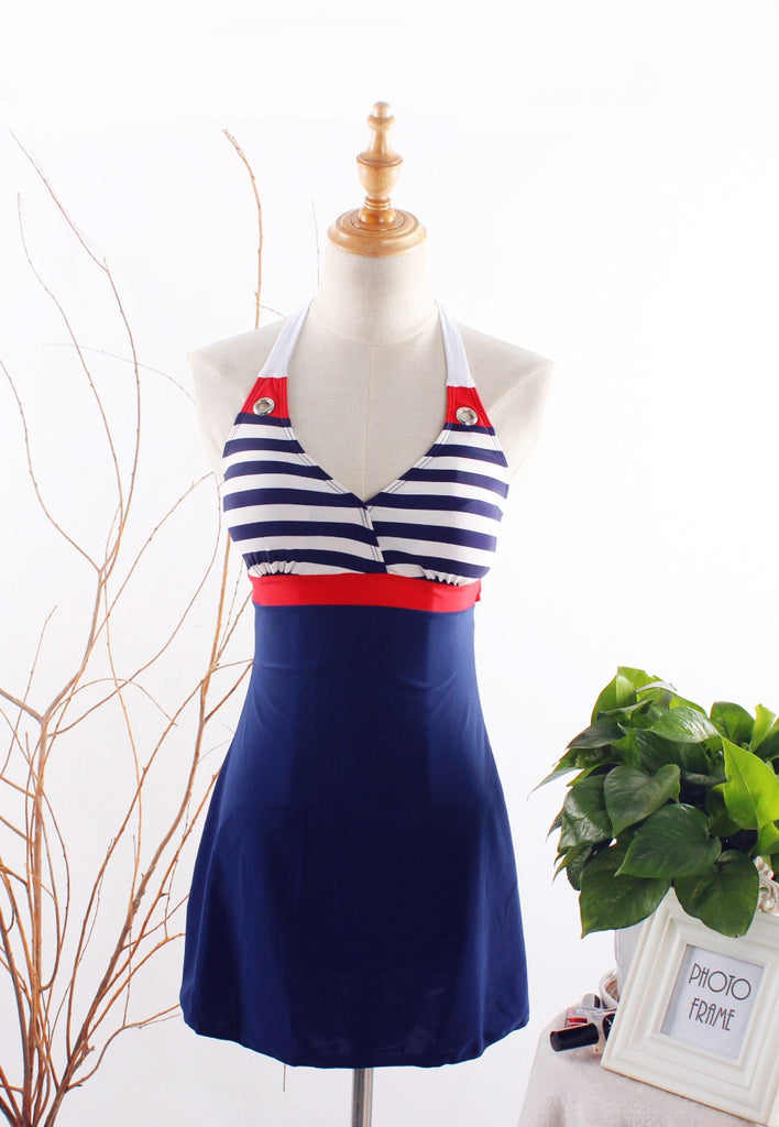 Fashion Sexy Stripe Plus Size Padded Navy Blue Halter Skirt Swimwear Women One Piece Swimsuit Beachwear Bathing Suit