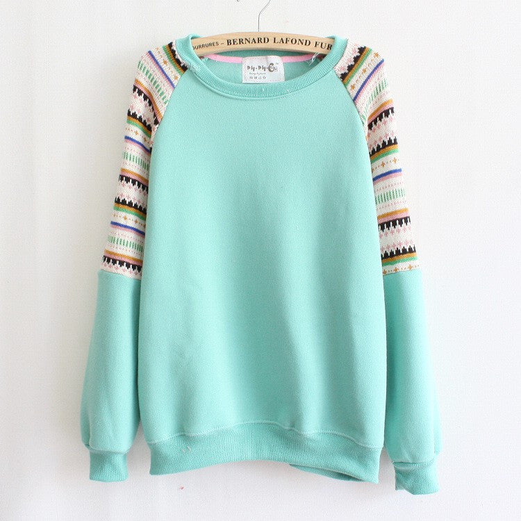 Fashion Stripe Long Sleeved Pullover Casual Sports Sweater for Girls Women Hoodies