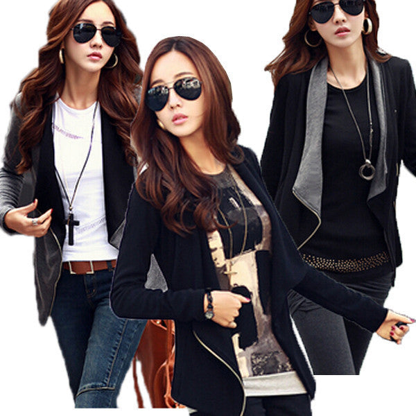 New Fashion Women Autumn Korean Style Slim Turn Down Lapel Collar Side Zipper Coat Jacket