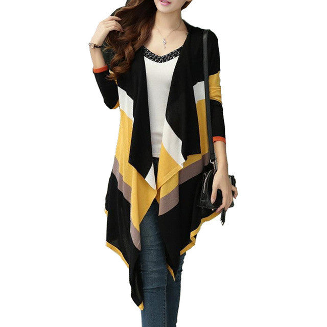 Women Korean Rainbow Colorful Stripes Irregular Knitted Cardigans Casual Autumn Batwing Shawl Outerwear Sweater