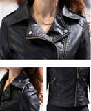 New Spring Women Leather Jacket Red Black PU Plus Size Jackets