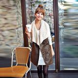 Winter Women Lady Leisure Fashion Warm Faux Fur Collar Vest Long Leather Waistcoat Coat Outerwear Brown