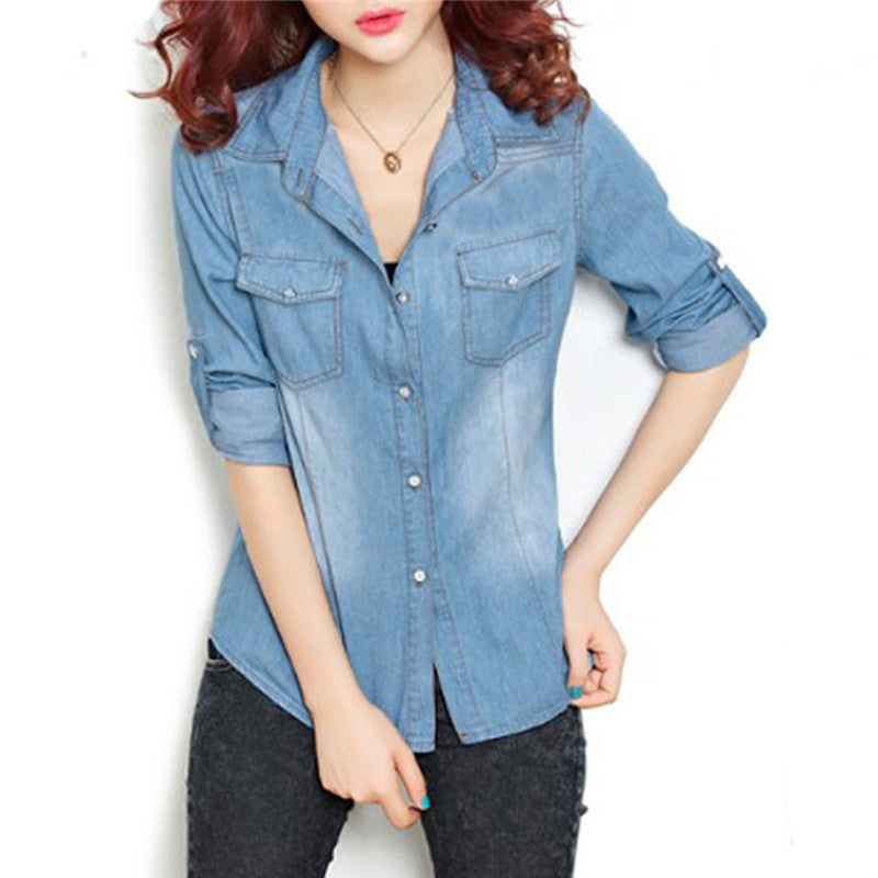 Women Cotton Boyfriend Lapel Long Sleeve Button Down Denim Jean Shirt Blouse Top