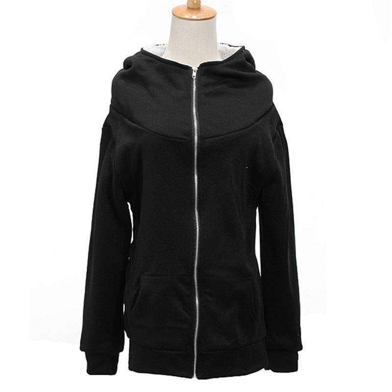 Women Ladies Winter Warm Zip Up Thick Fleece Black/Grey Outerwear Hooded Sweatshirt Hoodies Coat Jacket