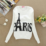 Fashion Spring Fall Women's Wear Long Sleeved Slim Sweatshirts Printed Paris Pullover Sweatshirts Student Clothing