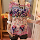 Lace Printing Three Quarter Puff Sleeves Round-neck Loose Tops Garment Summer Casual Wear For Women Ladies Blouses