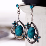 Fashion Retro Sapphire Female Pendant Earrings Charms Fashion Vintage Earrings