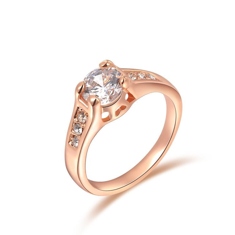 Fashion Crystal Ring with Austrian Crystal Rose Gold Plated Wedding Jewelry