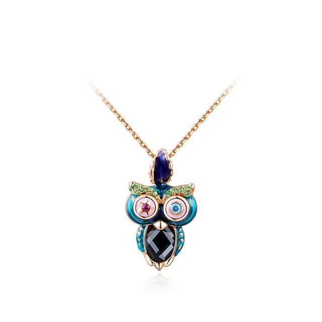 Fashion multicolor Owl Necklace with Austrian Crystal Gold Plated Women Jewelry