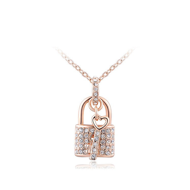 Fashion Austrian Crystal Lock and Key Pendant Necklace Rose Gold Plated Gift Jewelry
