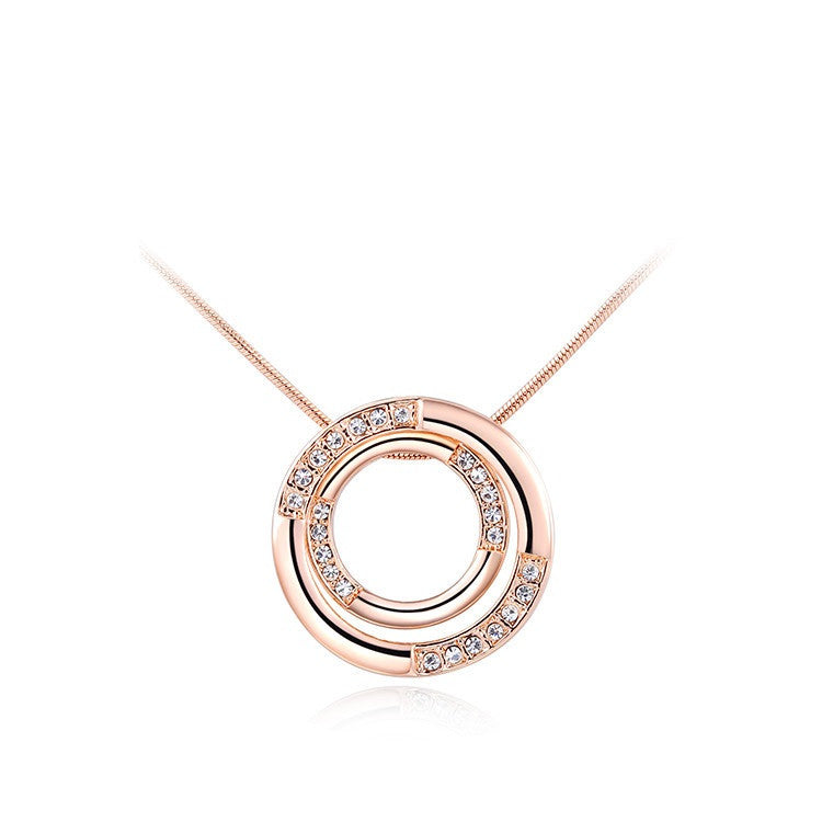 18K Rose Gold Plated Austrian Crystal Round Pendant Necklace Jewelry for women