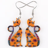 Drop Cat Earrings Long Acrylic Pattern Dangle Earring Fashion Jewelry For Women 2016 News Style Design Accessories Parts