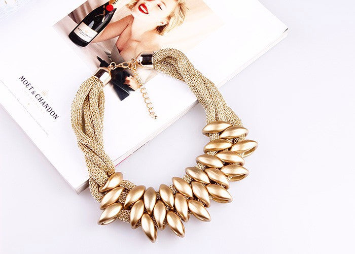 HOT Women Punk Gold Acrylic Waterdrop Pendant Close Knit Multilayer Twist Chain Chunky Choker Necklaces Gift