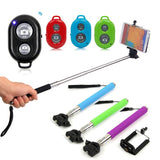 new Extendable Selfie Stick Bluetooth 6 Color Monopod+clip Holder+bluetooth Camera Shutter Remote Controller Android iOS