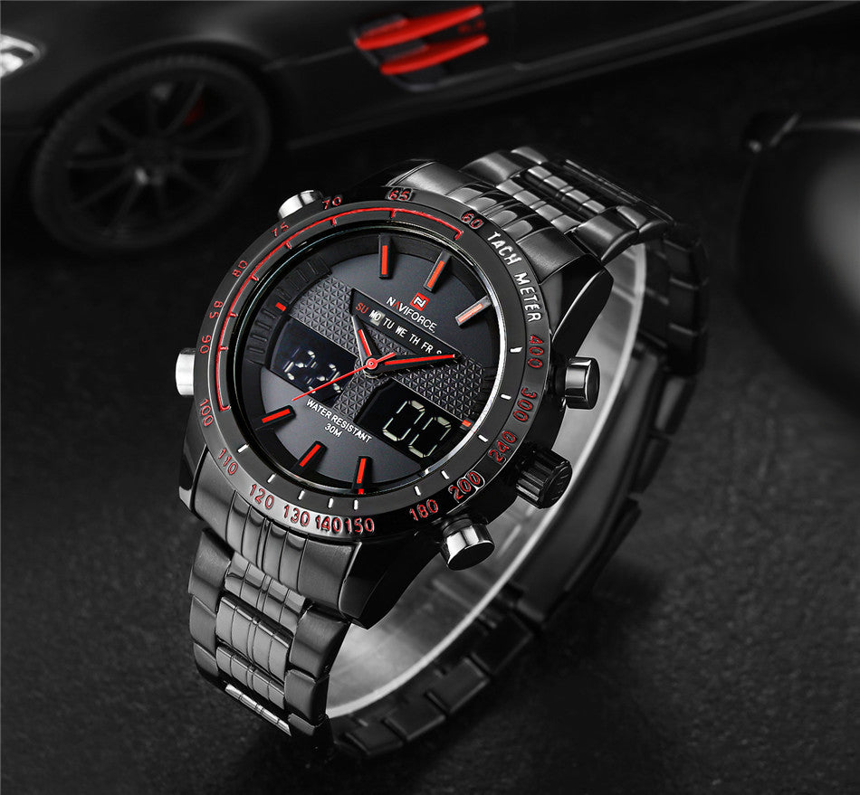 Men Watches NAVIFORCE 9024 Luxury Brand Full Steel Quartz Clock Digital LED Watch Army Military Sport Watch-Worldwide Free Shipping!