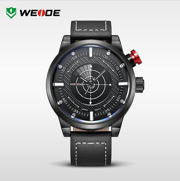 WEIDE New Men Watch Genuine Leather Band Fashion Casual Sports Design Luxury Quartz Watches Men 30m Waterproof Men Watches