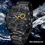 Watches Men Luxury Brand WEIDE Analog Digital Multifunction Waterproof Casual Sports Watch For Men Stainless Steel Wristwatch