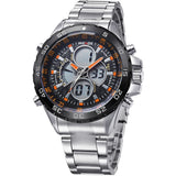 WEIDE Men Sports Watch Digital Quartz Full Steel Military Watches 30m Water Resistant Dive Multifunction LCD Display Wrist watch
