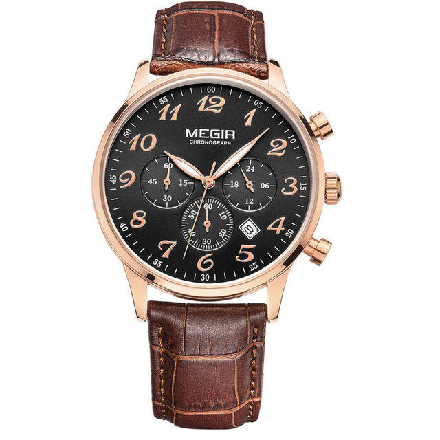 MEGIR New Chronograph 24 Hours Men Watch Leather Strap Business Casual Watch Quartz Watch Men Wristwatch