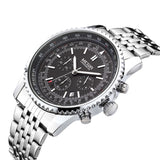 MEGIR CHRONOGRAPH 24 Hours Luxury Brand Watch Men Full Steel Watch Analog Display Quartz Men Business Watches Casual Watches