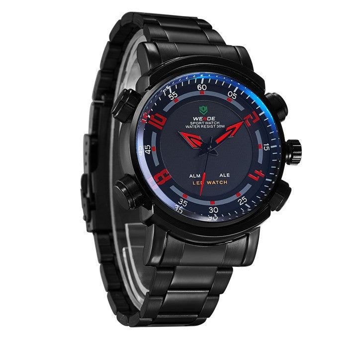 WEIDE Military Watch Multifunction Full Stainless Steel LED Digital Men Quartz Watches 30m Waterproof Sports Dress Wrist watch