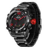 WEIDE Watches Men Military Sports LED Analog Digital Watch 2 time zone Japan Quartz Stainless Steel 3ATM Waterproof Wrist watch