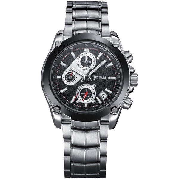 PREMA Chronograph Watch Men Luxury Brand Silver Stainless