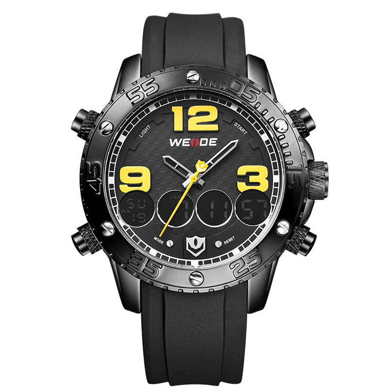 WEIDE New Men Watch Luxury Brand Watch Analog Digital Dispaly PU Band Multifunction Sport Watch